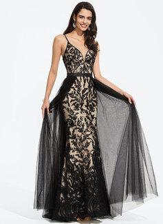Aライン Vネック マキシレングス チュール プロム用ドレス とともに ビーズ スパンコール