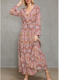 印刷 Aラインワンピース 1/2袖 マキシ 生きます カジュアル 休暇 ファッションドレス