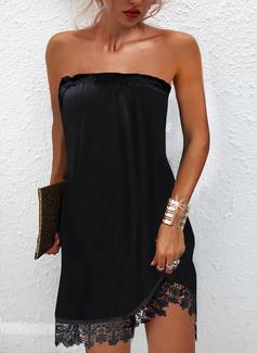 Sólido Vestidos sueltos Sin mangas Mini Pequeños Negros Fiesta Vestidos de moda