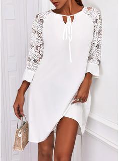 固体 シフトドレス 3/4袖 ミニ エレガント ファッションドレス