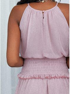 Sólido Volantes Vestido línea A Sin mangas Mini Casual Patinador Vestidos de moda