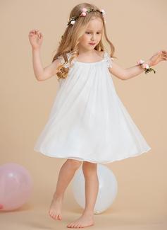Forme Princesse Longueur mollet Robes à Fleurs pour Filles - Mousseline Sans manches Col rond avec Dentelle