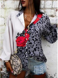 Leopardo Floral Impresión Cuello en V Mangas 3/4 Con Botones Casual Camisas Blusas