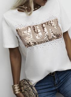Figura Impresión Lentejuelas Cuello Redondo Manga Corta Casual camiseta