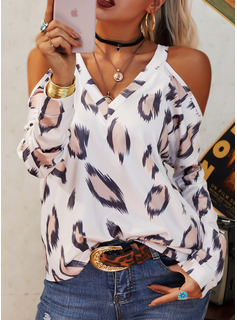 Leopard Cold Shoulder Long Sleeves Casual Sexy Blouses