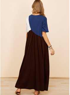 Color Block Shift Short Sleeves Maxi Casual Dresses