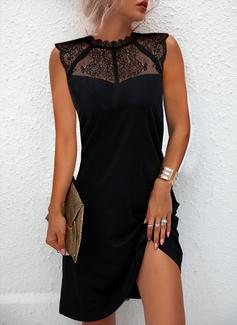 Sólido Vestidos sueltos Sin mangas Mini Pequeños Negros Elegante Vestidos de moda