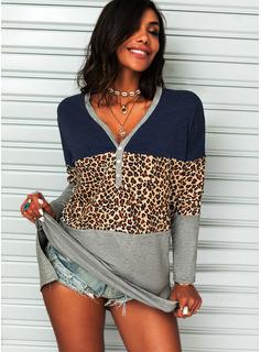 Leopard Color Block V-hals Lange ærmer Button-up Casual Skjorter