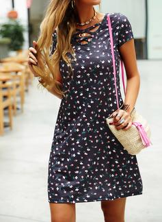 Blomster Print Kjole med A-linje Korte ærmer Mini Casual skater Mode kjoler