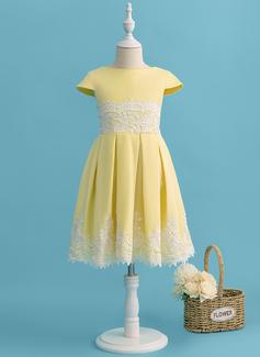 Linia A Do Kolan Sukienka dla Dziewczynki Sypiącej Kwiaty - Szarmeza/Koronka Krótkie Rękawy Okrągły/ głęboko wycięty Z Pałąka (e)