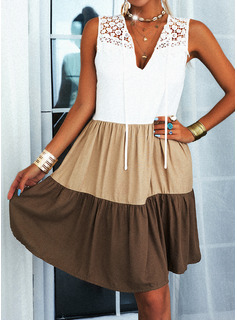 Trozos de color Encaje Vestidos sueltos Sin mangas Mini Casual Vestidos de moda