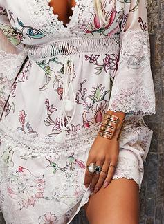 フローラル レース 印刷 シフトドレス 3/4袖 ミニ カジュアル エレガント チュニック ファッションドレス