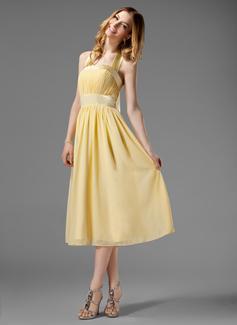 A-Line/Princess Halter Tea-Length Chiffon Bridesmaid Dress With Ruffle Bow(s)