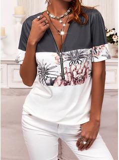 Color Block Floral Print V-Neck Short Sleeves Casual