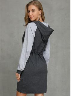 Color Block Bodycon Lange ærmer Mini Casual Mode kjoler