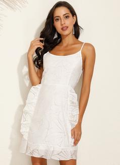 Above Knee Spaghetti Straps Polyester/Lace Print/Ruffles Sleeveless Fashion Dresses