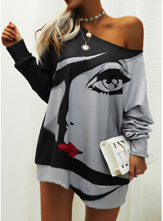 Print Shift Long Sleeves Mini Casual Tunic Dresses