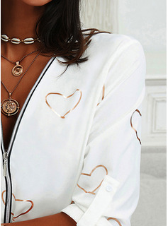 Impresión Corazón Cuello en V Manga Larga Con Botones Casual Blusas