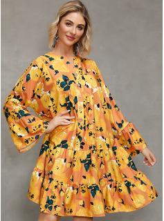 Blomster Print Skiftekjoler Lange ærmer Mini Casual Tunika Mode kjoler