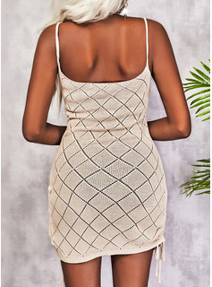 Impresión Cubierta Sin mangas Mini Casual Tipo Vestidos de moda