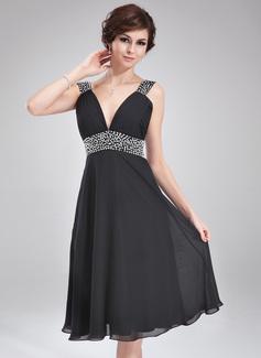 A-Line V-neck Knee-Length Chiffon Homecoming Dress With Ruffle Beading