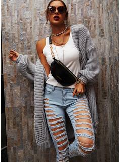 Lässige Kleidung Lange Einfarbig Zopfmuster Grobstrick Pullover