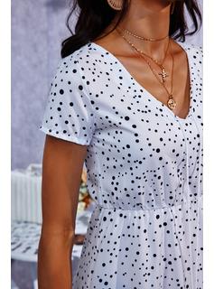 Polkaprik Kjole med A-linje Korte ærmer Maxi Casual skater Mode kjoler