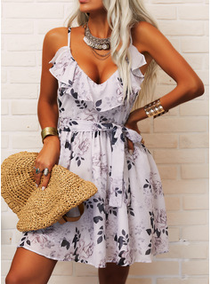 Floral Print A-line Sleeveless Mini Casual Vacation Skater Type Dresses