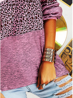 Leopard Color Block V-Neck Long Sleeves Casual T-shirt
