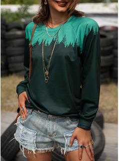 Foresta Blocchi di colore Stampa Girocollo Maniche lunghe Casuale Reggiseno Tshirt