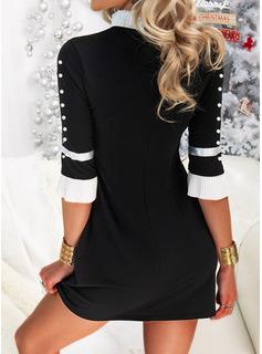 Color Block Bodycon 1/2 Sleeves Mini Elegant Dresses