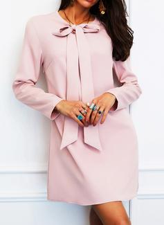 Solid Skiftekjoler Lange ærmer Mini Elegant Tunika Mode kjoler