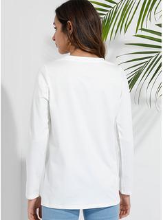 印刷 スパンコール ラウンドネック 長袖 カジュアル Tシャツ