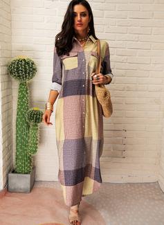 Plaid Skiftekjoler Lange ærmer Maxi Casual Skjorte Mode kjoler