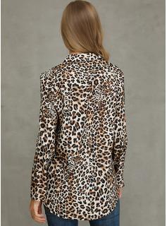 Leopardo Manga larga poliéster Solapa Camisas Blusas Blusas