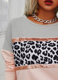 Leopard Color Block Paljetter Rund-ringning Långa ärmar Fritids t-shirt