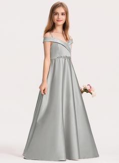 Ball-Gown/Princess Off-the-Shoulder Floor-Length Satin Junior Bridesmaid Dress