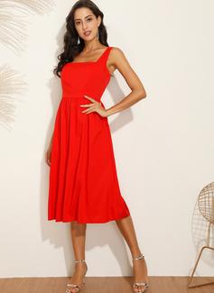 Midi Gurt Polyester Einfarbig Ärmellos Modekleider