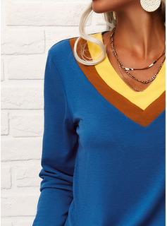 カラーブロック Vネック 半袖 カジュアル Tシャツ