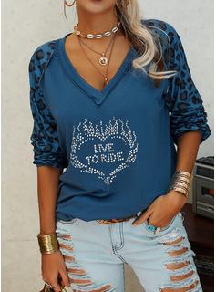 Leopard Figure Sequins Heart V-Neck Long Sleeves Casual T-shirt