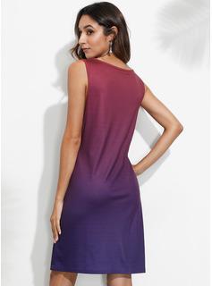 Over Knee V-hals Polyester/Bomuld Solid Uden Ærmer Mode kjoler