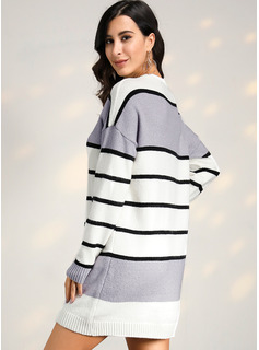 Color Block Striped Long Sleeves Casual Dresses