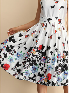Animal Print Floral A-line Sleeveless Midi Party Skater Dresses