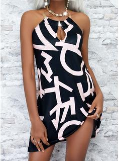 Impresión Carta Vestidos sueltos Sin mangas Mini Casual Vestidos de moda