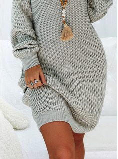 Solido Maniche lunghe Casuale Lungo Abito maglione Vestiti di moda