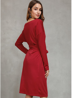 Hasta la rodilla Cuello redondo Algodón Sólido Mangas Largas Vestidos de moda