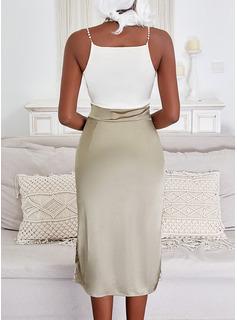 Color Block Sheath Sleeveless Midi Elegant Type Dresses