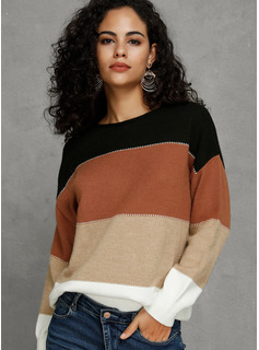 Trozos de color poliéster Algodón Cuello redondo Suéter Suéteres