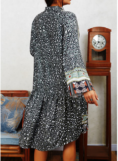Leopard Print Shift Long Sleeves Mini Boho Casual Tunic Dresses