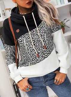 Color Block Leopard Långa ärmar Hoodie